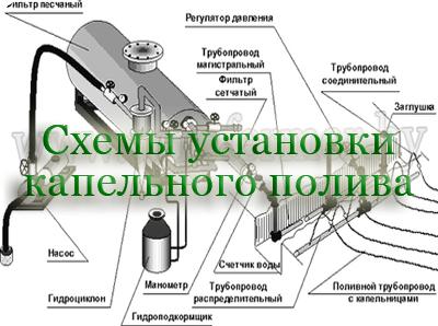 Схемы установки капельного полива